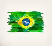 Watercolor hand drawn Brazilian flag