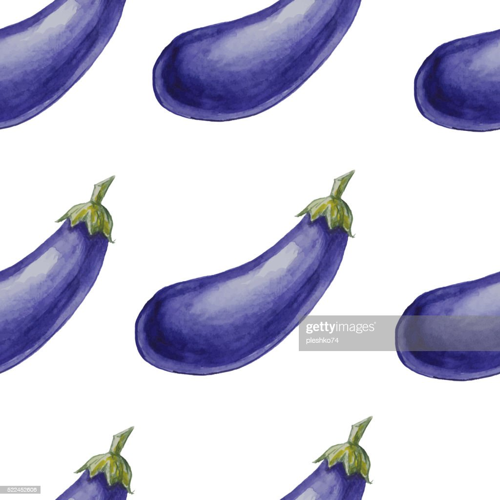 Watercolor hand drawn seamless pattern with eggplants.