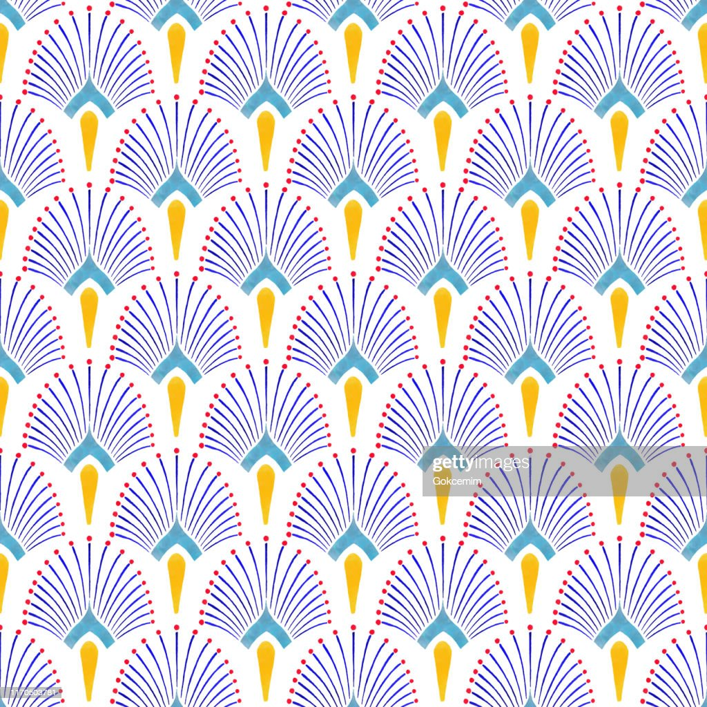 Watercolor Hand Painted Navy Blue and Yellow Tile. Art Deco Vector Seamless Pattern, Lisbon Arabic Floral Mosaic, Mediterranean Seamless Navy Blue and Yellow Ornament. : stock illustration