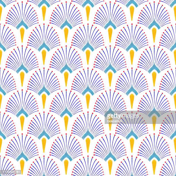 illustrazioni stock, clip art, cartoni animati e icone di tendenza di watercolor hand painted navy blue and yellow tile. art deco vector seamless pattern, lisbon arabic floral mosaic, mediterranean seamless navy blue and yellow ornament. - motivo floreale