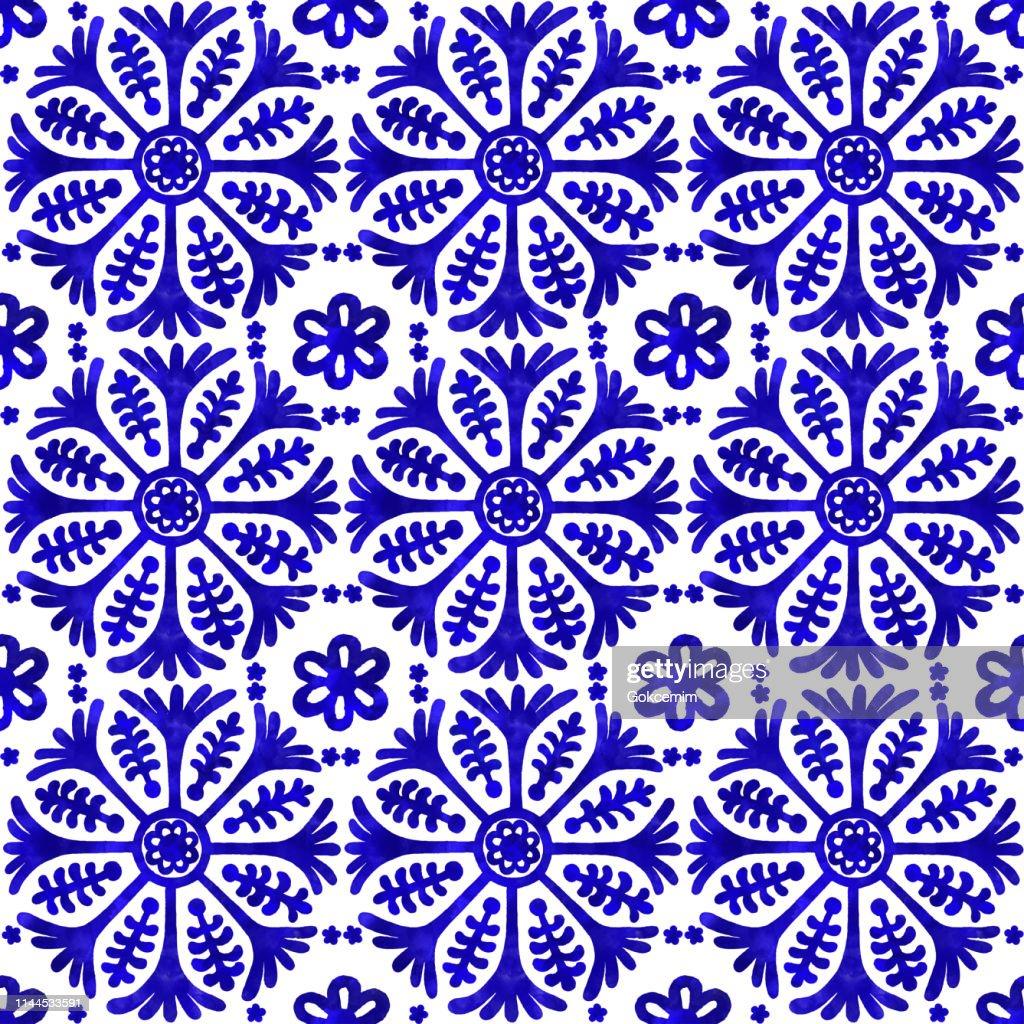 水彩手ペイントネイビーブルータイル。ベクタータイルパターン, リスボンアラビア花のモザイク, 地中海シームレスネイビーブルーオーナメント : ストックイラストレーション