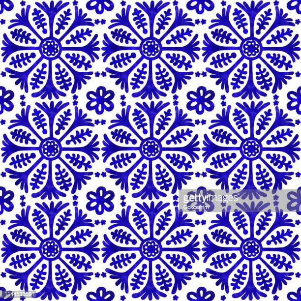 watercolor hand painted navy blue tile. vector tile pattern, lisbon arabic floral mosaic, mediterranean seamless navy blue ornament - floral pattern stock illustrations