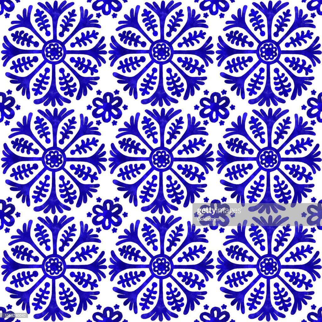 水彩画塗装ネイビーブルータイル。ベクトルタイルパターン、リスボンアラビア花モザイク、地中海シームレスネイビーブルーオーナメント : ストックイラストレーション