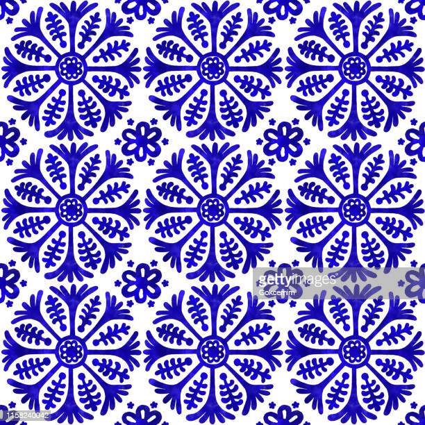 watercolor hand painted navy blue tile. vector tile pattern, lisbon arabic floral mosaic, mediterranean seamless navy blue ornament - tradition stock illustrations