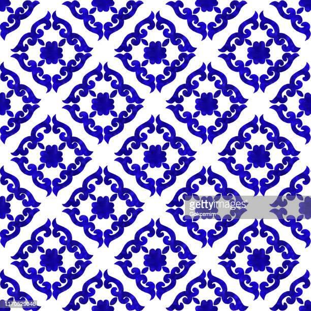 水彩画塗装ネイビーブルータイル。ベクトルタイルパターン、リスボンアラビア花モザイク、地中海シームレスネイビーブルーオーナメント。 - ペーズリー点のイラスト素材/クリップアート素材/マンガ素材/アイコン素材
