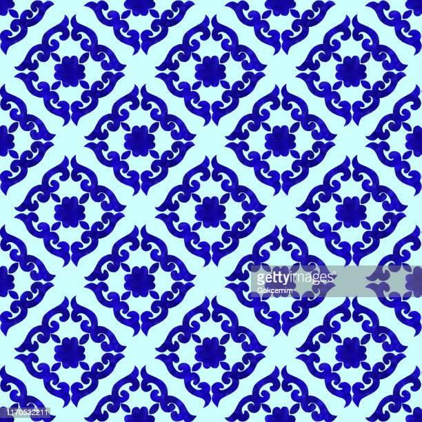 watercolor hand painted navy blue tile. vector tile pattern, lisbon arabic floral mosaic, mediterranean seamless navy blue ornament. - portuguese culture stock illustrations