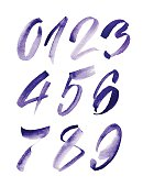 Watercolor hand written purple numbers. Vector illustration