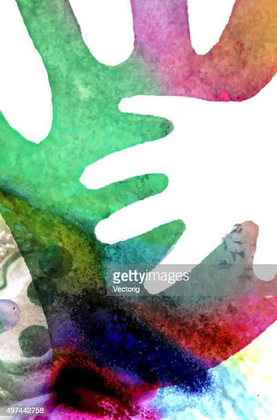 watercolor hands illustration - parent stock illustrations