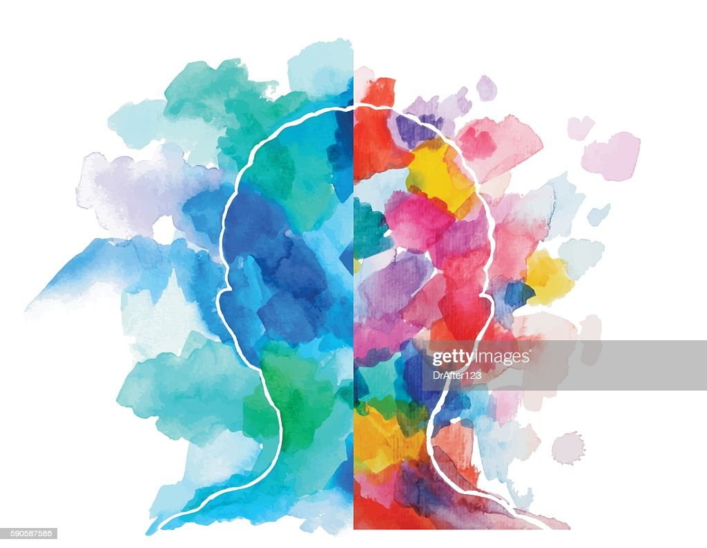 Watercolor Head Logical Vs Creative Thinking