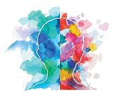 Watercolor Head Logical Vs Creative Thinking