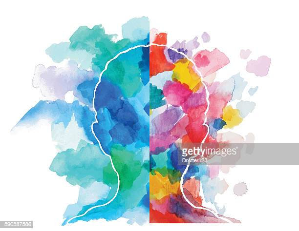 watercolor head logical vs creative thinking - kreativität stock-grafiken, -clipart, -cartoons und -symbole