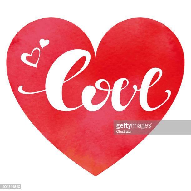 Aquarell Herz Hintergrund mit Liebe Inschrift
