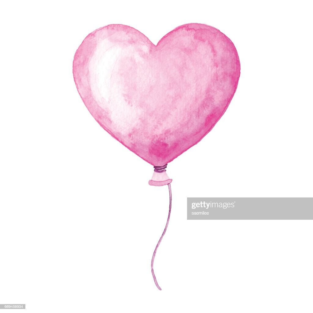 Watercolor Heart Balloon : stock illustration