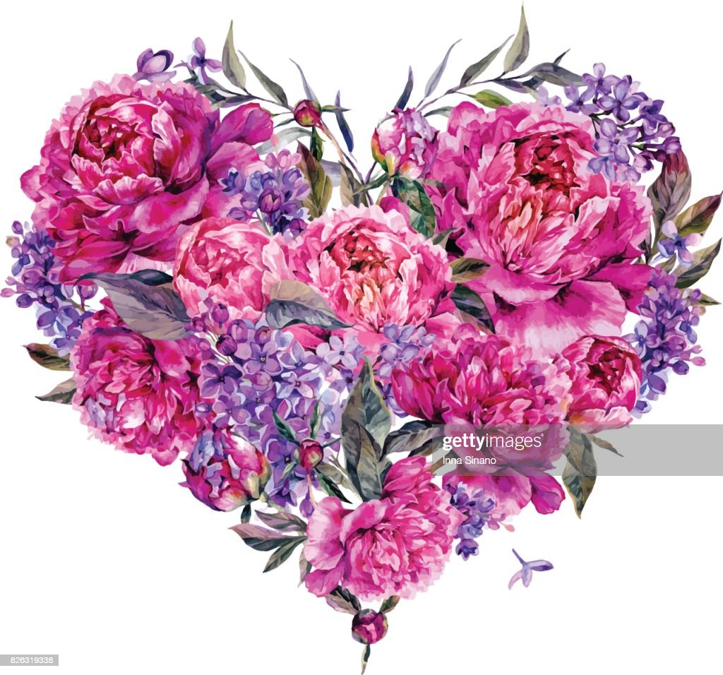 Watercolor Heart made of Peonies and Lilac