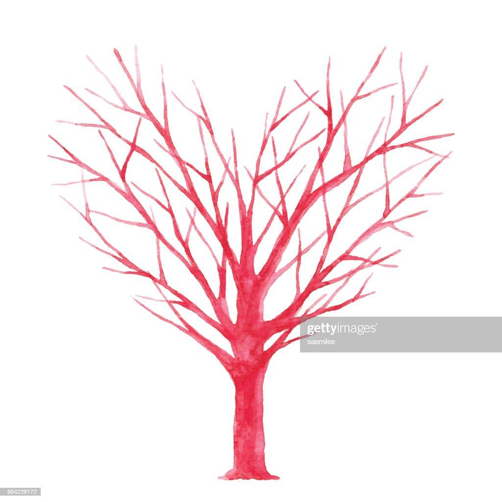 Watercolor Heart Shaped Tree