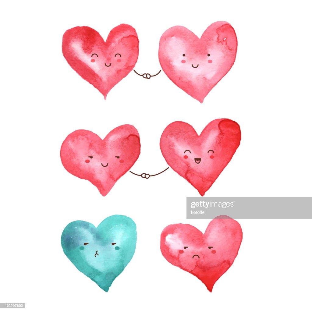 Watercolor hearts for Valentine's day design.