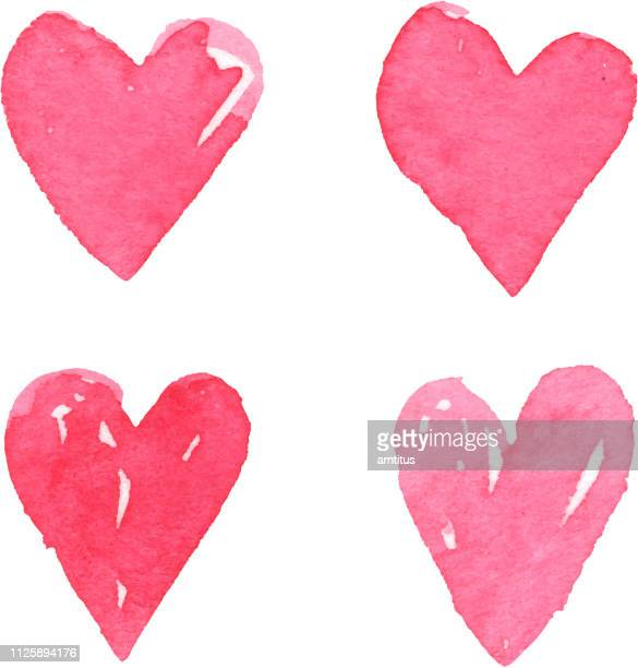 watercolor hearts - heart shape stock illustrations