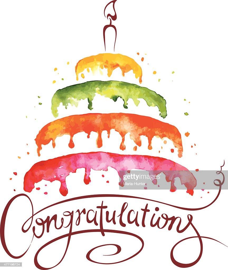 Watercolor illustration -- Cake and Congratulations