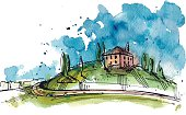 Watercolor illustration of a Tuscany hill