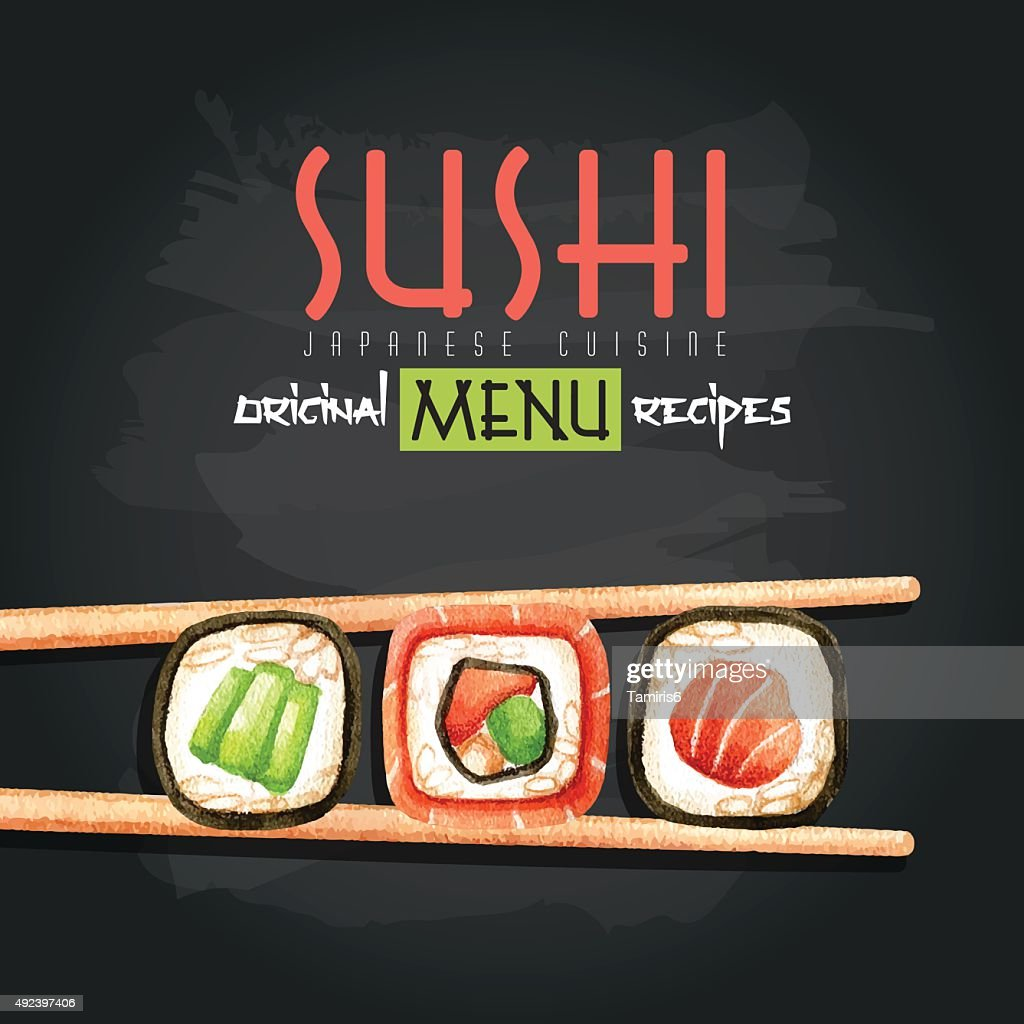 Watercolor illustration with sushi rolls and chopsticks