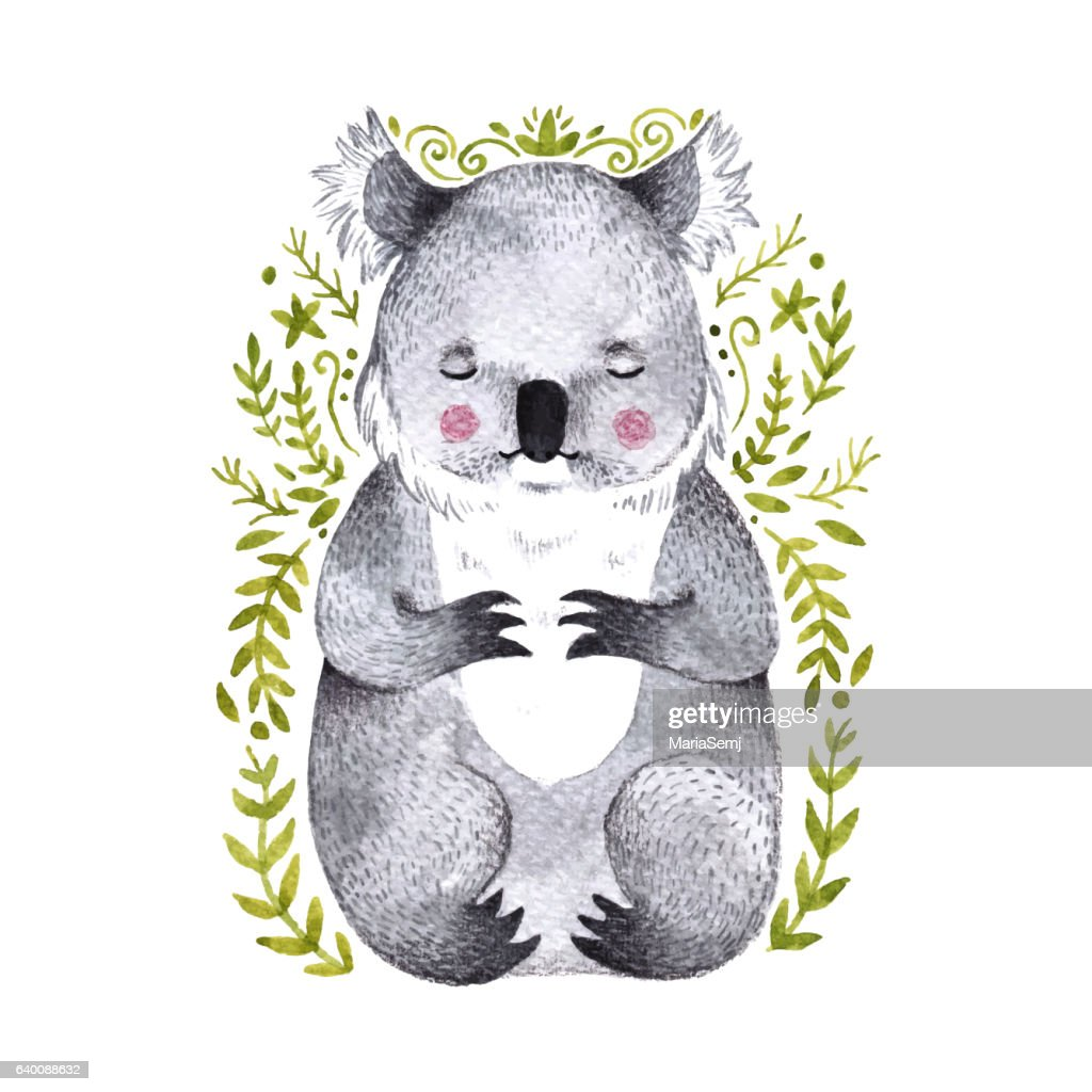 Watercolor koala. Hand drawn bear illustration with branches