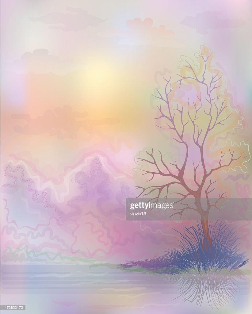 Watercolor landscape .Unusual.light background .Pastel colors.painting.