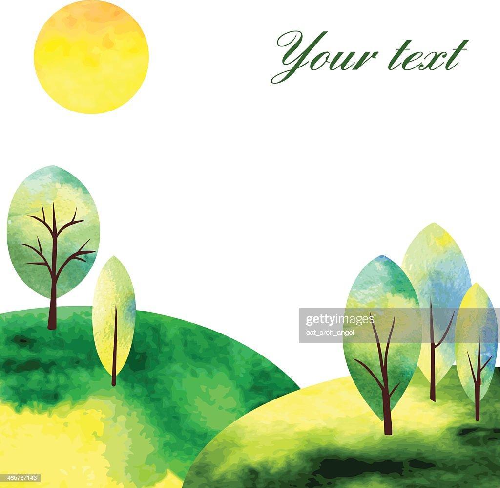 watercolor landscape witj tree and sun