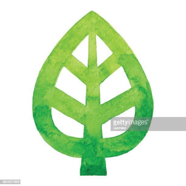 ilustraciones, imágenes clip art, dibujos animados e iconos de stock de logo de la hoja de acuarela - ecosistema