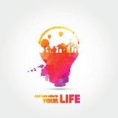 Watercolor Light bulb idea, creative ecological concepts,