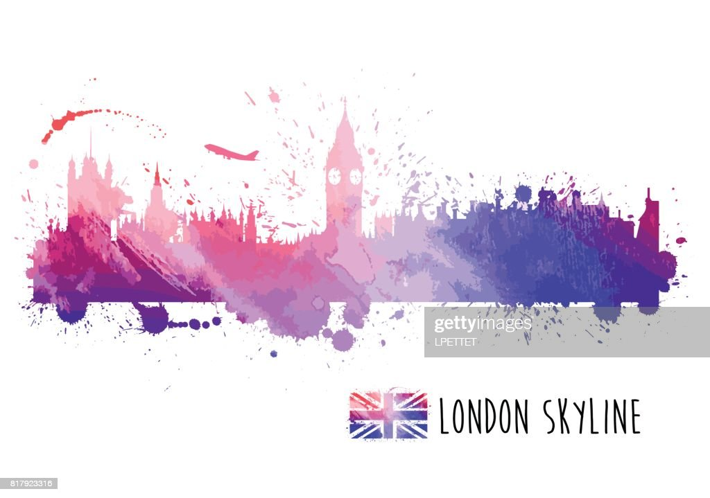 watercolor london skyline vector art getty images