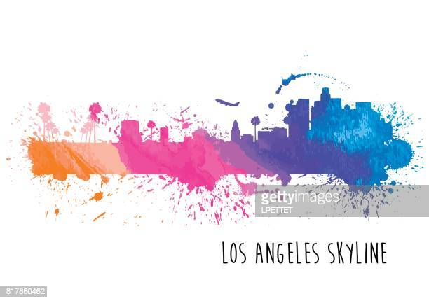 Watercolor Los Angeles Skyline
