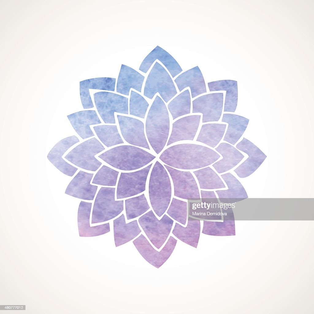 Watercolor Lotus Flower Blue And Violet Vector Art Getty Images