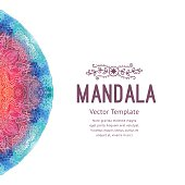 Watercolor mandala, lace ornament made of round pattern in oriental