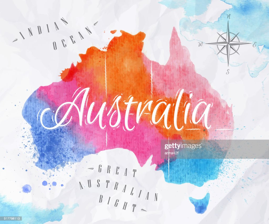 Watercolor map Australia pink blue