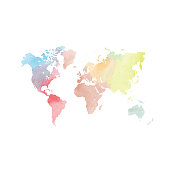 Watercolor map of World. Colorful vector illustration