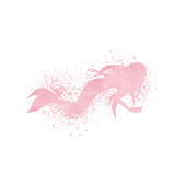 Watercolor mermaid silhouette with paint splatter and spray effe