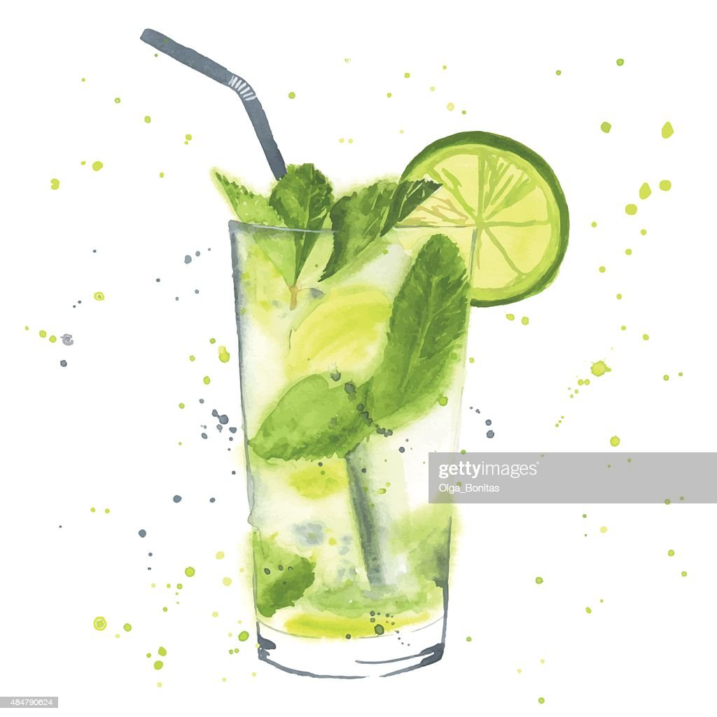 Watercolor mojito