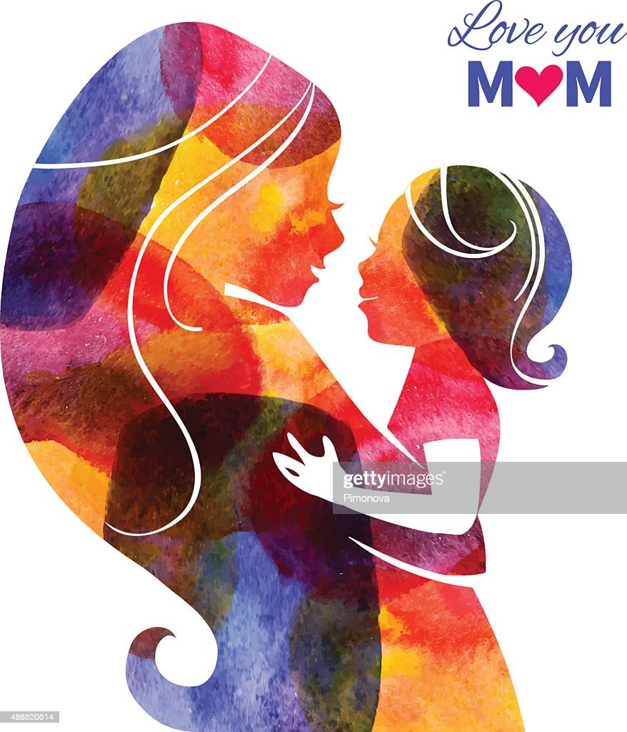 Watercolor mother silhouette with her baby. Card of Happy Mother