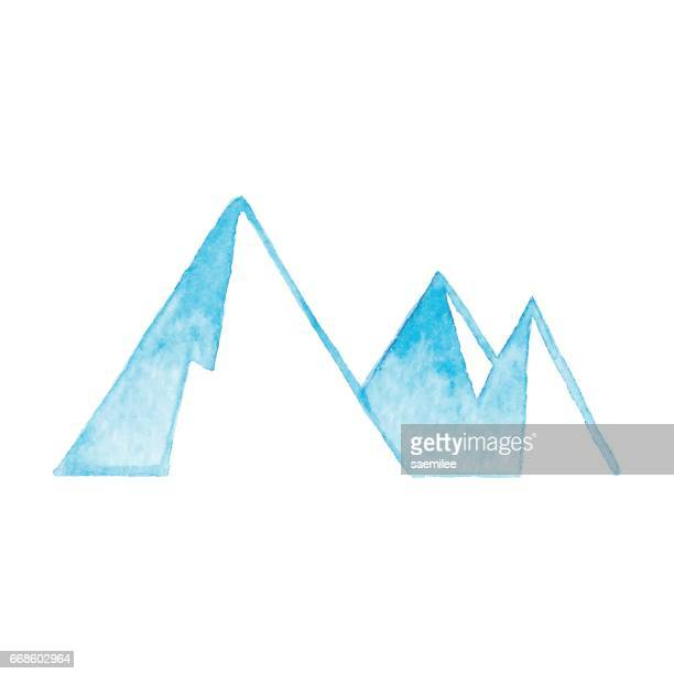 watercolor mountain icon blue - mountain stock illustrations, clip art, cartoons, & icons