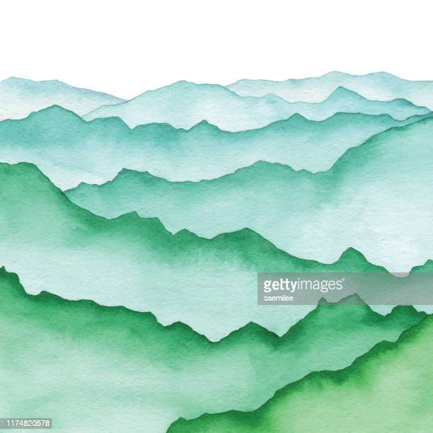 watercolor mountains green - mountain stock illustrations