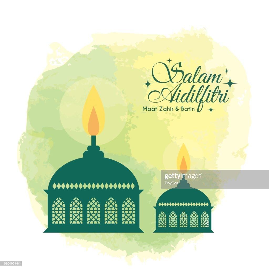 watercolor muslim oil lamp - green