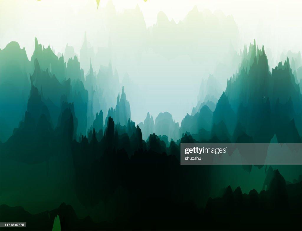 poster paesaggio naturale acquerello per il design : Illustrazione stock