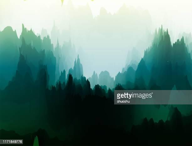 illustrazioni stock, clip art, cartoni animati e icone di tendenza di watercolor nature landscape poster for design - natura
