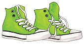 Watercolor neon green sneakers pair shoes isolated vector