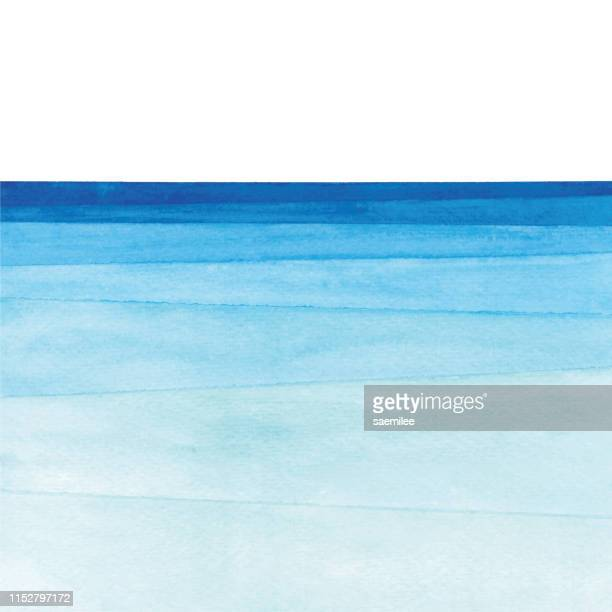watercolor ocean gradient - sea stock illustrations
