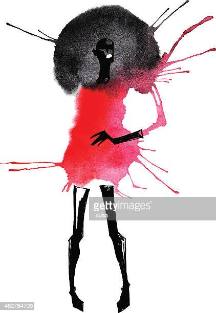 watercolor of woman with black hair in a red dress - fashion stock illustrations