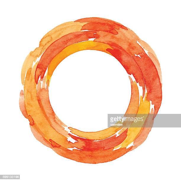 Watercolor Orange Ring