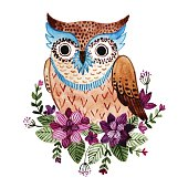 Watercolor owl  vector illustration with beautiful flowers and green leaves.