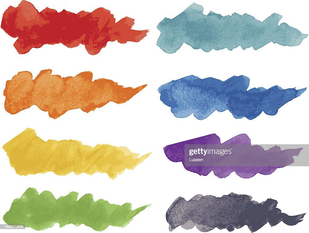 Watercolor paint brush strokes