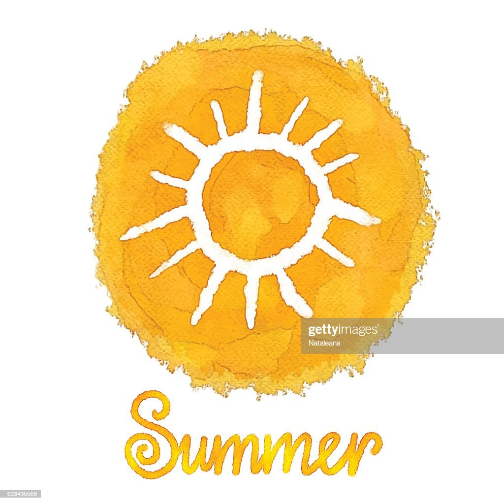 Watercolor paint stain, sun, word summer